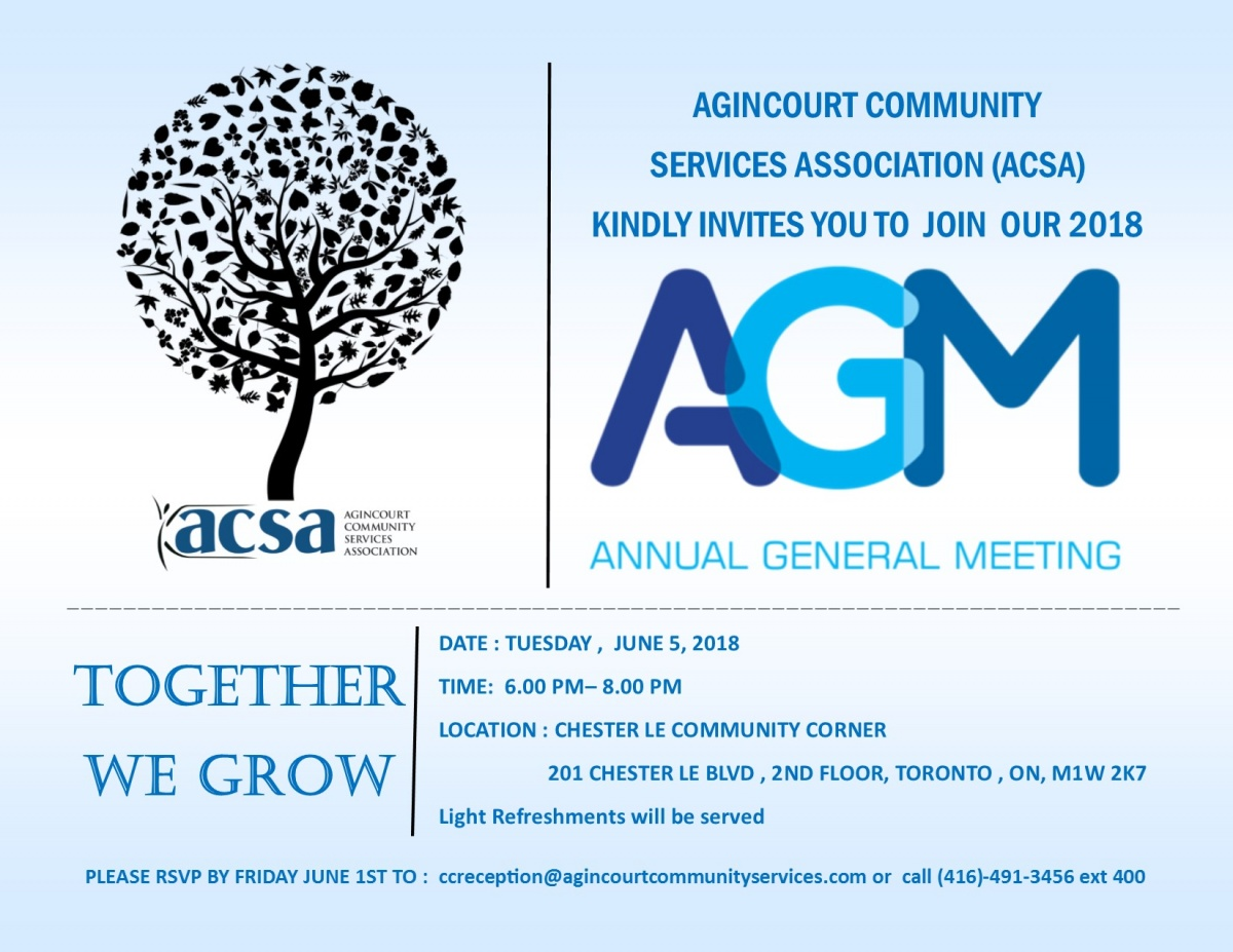 You Re Invited To Our Agm Agincourt Community Services