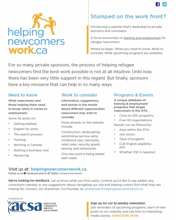 Helping Newcomers Work | Agincourt Community Services Assocation