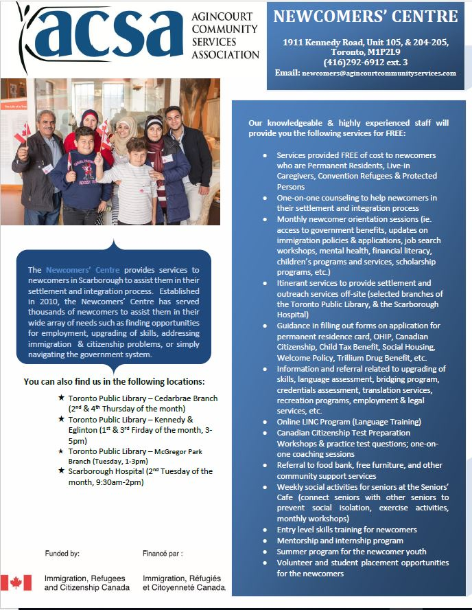 Newcomers' Centre Programs and Services | Agincourt