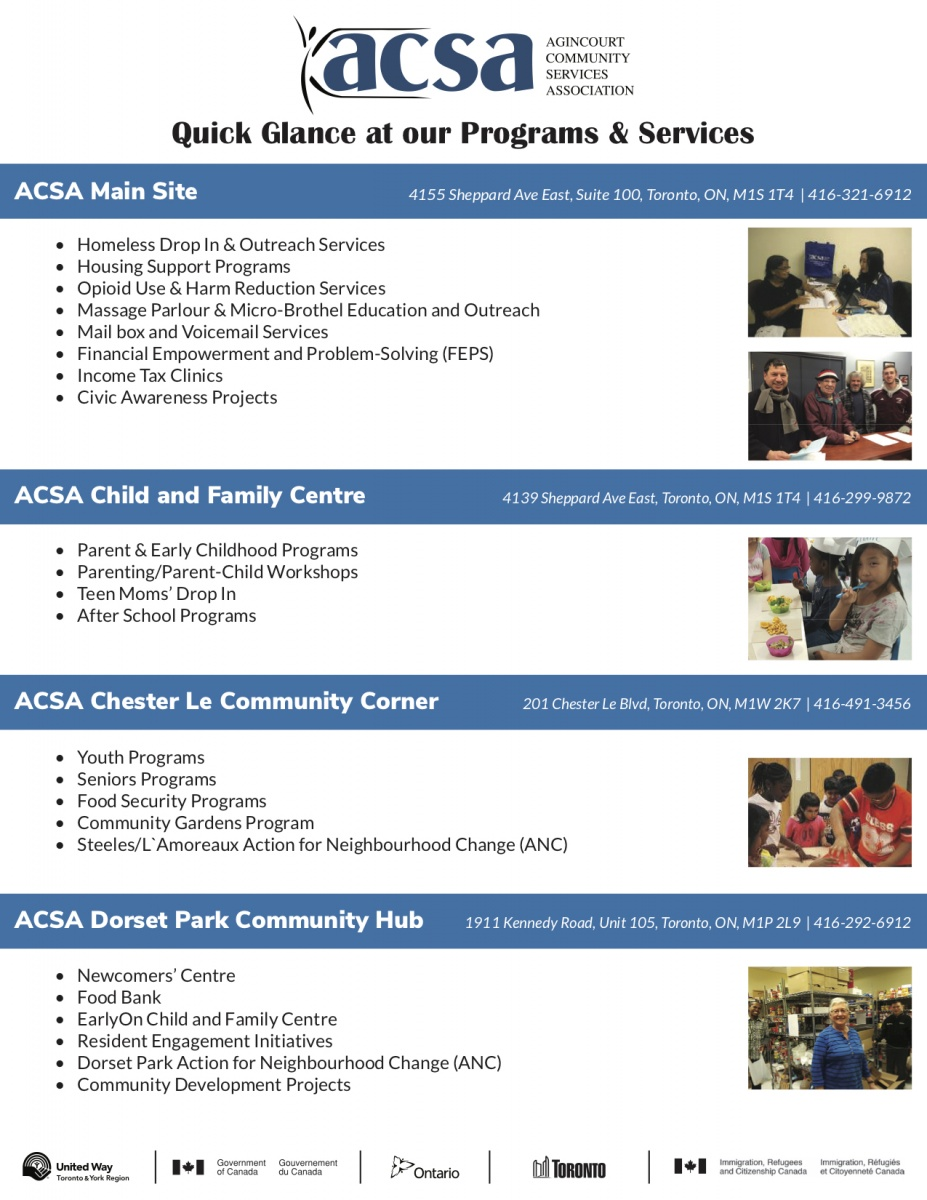 Quick Glance at ACSA's Programs and Services in English.